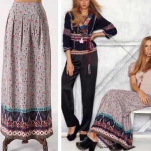 Anthropologie Silk Maxi Skirt Hey Ho Conjuror Boho